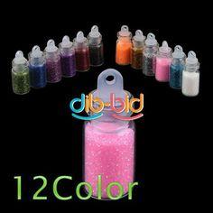 12 Color Glitter Decor Nail Art Powder Dust Bottle Set | eBay