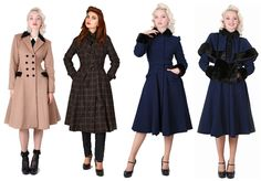 Constance Riding Coat, Dietrich Check Swing Trench, Anastasia Coat with and without cape & muff. By Collectif Clothing