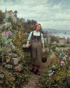 Daniel Ridgway Knight (American-born French genre painter, 1839-1924) Coming Home from Market