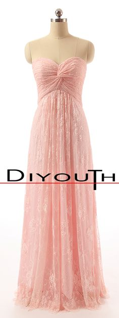 DIYouth.com Sweetheart Long Pink Floor Length Lace Formal Bridesmaid Dresses, lace prom dress, pink evening dresses, sweetheart bridesmaid dress, cocktail dress #wedding #bridesmaid #prom