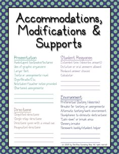 Accommodations, modifications, IEP cheat sheet.