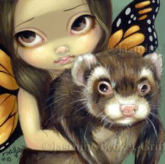 Faces of Faery 97 butterfly ferret weasel big eye fairy face art print by Jasmine Becket-Griffith 6x6