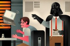 Office Vader. Star Wars meets Office Space illustration by ©Dave Murray. Represented by i2i Art Inc.