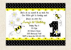Bumble bee birthday party invitations by cutiestiedyeboutique bumble bee birthday invitations filmwisefo Images