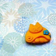 Fimo Cat Brooch, Happy and Sunny