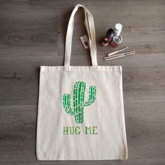 "Cactus ""Hug Me"" canvas tote bag, handpainted bag, natural cotton bag colourfull design shopping bag, fashion, ideal gift. Plastic Shopping Bags, Cellophane Bags, Hug Me, Stencil Painting, Market Bag, Cotton Bag, Canvas Tote Bags, Hand Painted, Shoulder Bag"