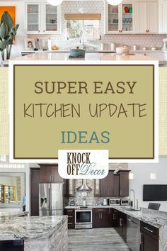 If you're in need of a kitchen update, know you don't have to spend an arm and leg for an entire kitchen remodel.You can do an easy kitchen update without breaking the bank. Keep reading to learn more. Easy Kitchen Updates, Updated Kitchen, Knock Off Decor, All White Kitchen, Bar Seating, Diy Kitchen Decor, Rustic Shelves, Vintage Dishes, Dining Room Table