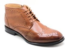 Men's La Milano Ankle Genuine Leather Wing-Tip Lace-Up Casual / Dress Shoes Tan