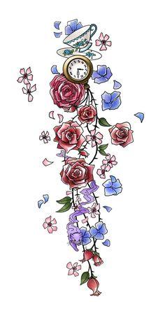 Afbeeldingsresultaat voor alice in wonderland flower border vector
