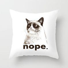 GRUMPY CAT - Nope (version 2) Throw Pillow by John Medbury (LAZY J Studios) - $20.00