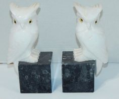 PAIR VOLTERRA ITALIAN GENUINE HAND CARVED ALABASTER OWL BOOK ENDS ~ GLASS EYES