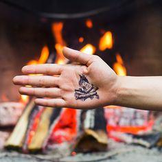 Family friendly, fake camping tattoos!
