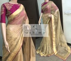 Embroidered Tissue Saree With Embroidered Blouse Simple Sarees, Trendy Sarees, Stylish Sarees, Fancy Sarees, Saree Blouse Patterns, Saree Blouse Designs, Onam Saree, Half Saree Designs, Saree Trends