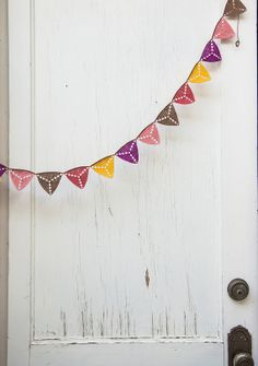 Crochet bunting for outdoor parties BUY… Crochet Bunting, Crochet Garland, Crochet Decoration, Crochet Home Decor, Diy Crochet And Knitting, Love Crochet, Crochet Motif, Beautiful Crochet, Yule