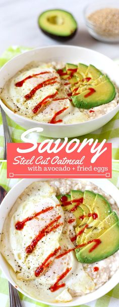 Savory oatmeal is a refreshing twist! Cottage cheese, parmesan and steel cut oatmeal is cooked together and topped with fried eggs, avocado slices and a drizzle of sriracha.