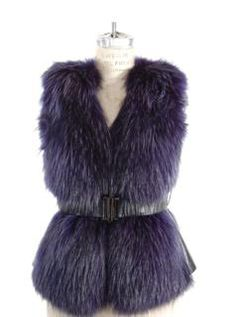 Boardroom to Sidelines Belted Blue Finn Raccoon Vest with Leather Side Inserts for women at exceptional prices.  Brand New.  Day Furs, Inc.