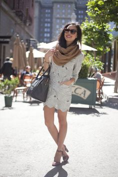 love the combo of dress and scarf. dressy but casual