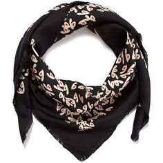 Balenciaga Black Petal Graphic Silk Scarf ($290) ❤ liked on Polyvore featuring accessories, scarves, silk scarves, summer shawl, summer scarves, patterned scarves and print scarves