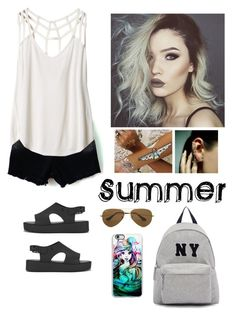 """Summer"" by natalialovesnutella ❤ liked on Polyvore featuring RVCA, Melissa, Flash Tattoos, NBD, Mike Saatji, Ray-Ban, Samsung and Joshua's"
