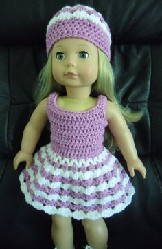PDF Crochet pattern for 18 inch doll Dress and hat by petitedolls