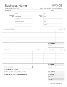 repair work order form template | free printable business form, Invoice templates