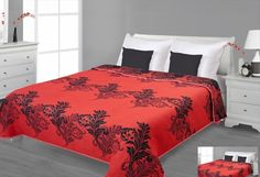 Dwustronne narzuty na łóżko czerwone z czarnym ornamentem