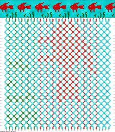 Fishie friendship bracelet pattern, 34 Strings 3 Colours