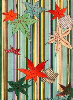 Kimono Pattern with Leaves, 1880s, Japanese woodblock print