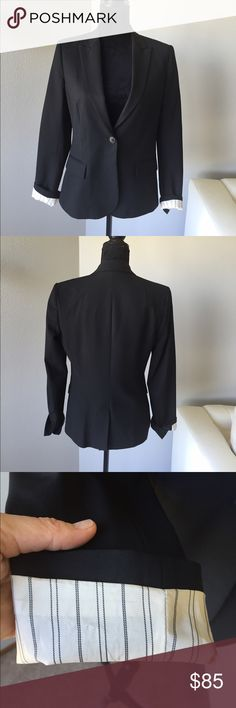 Theory blazer in black Theory blazer. Black. White and black stripes where sleeves turn up. Perfect condition Theory Jackets & Coats Blazers