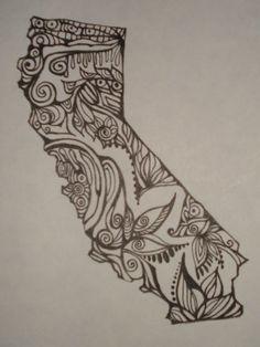 California outline w/ design interiorOriginal drawing by AlliArt