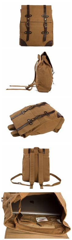 Vintage Canvas Leather Hiking Travel Backpack Tote Bag Fit 15 Inch Laptop