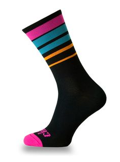 2017 FLUO STRIPES BLACK Crazybiker cycling socks