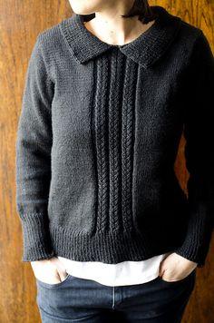 Ravelry: Basic Black Sweater pattern by kraftling, designed with Berroco Vintage DK © Joleen Kraft