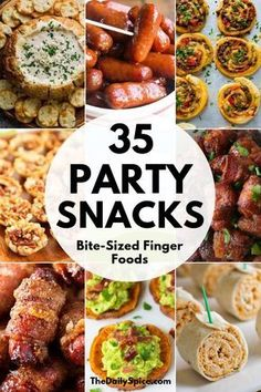 35 Perfect Party Finger Foods: Party Appetizers - The Daily Spice - . 35 Perfect Party Finger Foods: Party Appetizers – The Daily Spice – Best Party Appetizers, Fingerfood Party, Finger Food Appetizers, Snacks Für Party, Party Food Entrees, Finger Foods For Parties, Simple Finger Foods, Easy Thanksgiving Appetizers, Super Bowl Appetizers