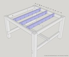 Step-by-step building plans on how to build a DIY square farmhouse table. Free plans by Jen Woodhouse, modified from Ana White's famous Farmhouse Table.