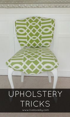 Upholstery Tips & Tricks >>>> I've done several upholstery tutorials on the blog, and ...    This will officially be the third time I've reupholstered this chair and hopefully the last.  I chose a green and white Waverly fabric from Joann's, and I cannot wait to show you how ....