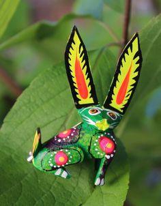 Fun Alebrijes Hand painted Wood Fox? Pin Colorful Hippie Tribal Mexican Folk Art