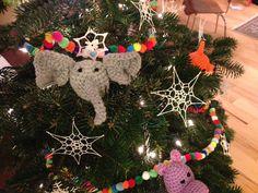 Yarn bombed Christmas tree - elephant amigurumi