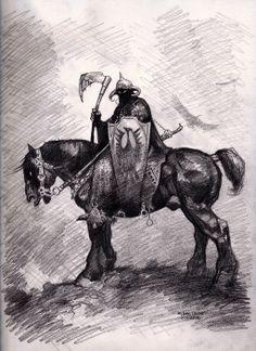 Frazetta's Death Dealer by myconius on DeviantArt Fantasy Art Men, Fantasy Images, Fantasy Artwork, Frank Frazetta, Comic Artist, Artist Art, Art Sketches, Art Drawings, Pencil Drawings