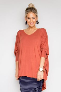 PQ Collection Bamboo Long Sleeve Hi Low Miracle Top Cayenne Free Size Cayenne From BoxHill Batwing Sleeve, Long Sleeve, Oasis Dress, Classic Chic, Signature Style, Cool Suits, Curvy Fashion, Striped Dress, Navy And White