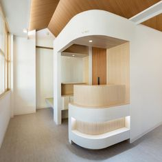 This gorgeous dental clinic in Tokyo, Japan is this weeks #hospitalswelove. With universal design and special attention to detail, the architects took into account disabled patients when building the clinic. All dental chairs were built with wheelchair access and additional details for the elderly and their mobility. The curved, geometric ceilings were made with the patient's ease and relaxation in mind. We love the modern and clean design of this incredible space.