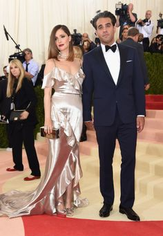 Rose Byrne in a Ralph Lauren Collection dress, Cartier jewelry, and Jimmy Choo bag and Bobby Cannavale in Ralph Lauren Purple Label