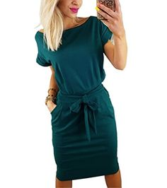 4bfb16c1534 Asskdan Women s Casual Short Sleeve Knee Length Belted Dress with Pockets  at Women s Clothing store