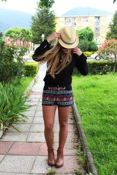 ETHNIC SHORTS AND TEXANS BOOTIES