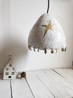 Egg lamp made of papier maché to give a funny and soft touch to your room.For any occasionThe cable is 2 meters long and made of fabric. The lamp is equipped both to be hanged from ceiling or plug on the walldiameter of the lamp : 25 to 30 cm