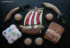 Pirate theme cookies - pirate ship, treasure chest, treasure map, coins, sword- 16 rolled sugar cookies
