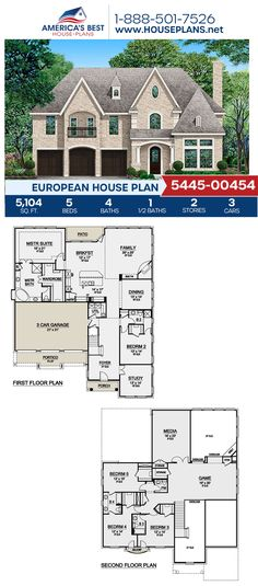 Plan 5445-00454 delivers an European home with 5,104 sq. ft., 5 bedrooms, 4.5 bathrooms, a breakfast nook, a kitchen island, an open floor plan, a media room, and a study. #european #twostoryhome #architecture #houseplans #housedesign #homedesign #homedesigns #architecturalplans #newconstruction #floorplans #dreamhome #dreamhouseplans #abhouseplans #besthouseplans #newhome #newhouse #homesweethome #buildingahome #buildahome #residentialplans #residentialhome