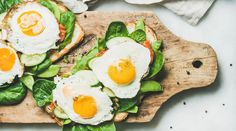 Bread toasts with fried eggs and fresh vegetables on wooden board over grey marble background top view. Clean eating healthy weight loss detox food concept Source by Web_Developer Healthy Diet Recipes, Low Carb Recipes, Healthy Snacks, Healthy Eating, Healthy Sandwiches, Breakfast Sandwiches, Detox Breakfast, Breakfast Healthy, Vegetarian