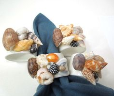 Sea Shell Napkin Rings White Shell napkin holders by ReneesRetro | vintage | napkin rings | kitchen service | tableware | etsy