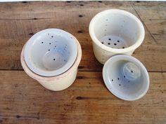 French Stoneware Cheese Strainers Moulds by FrenchMarketFinds, €30.00